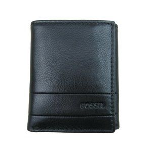 Fossil Lufkin Trifold Black Leather Mens Wallet